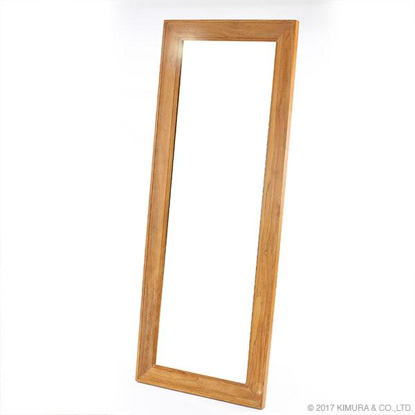 チーク無垢材 ウォールミラー インテリア スタンドミラー 姿見 全身鏡 壁立て掛け式 チーク 無垢 木製 玄関 寝室 大型(代引不可)【送料無料】
