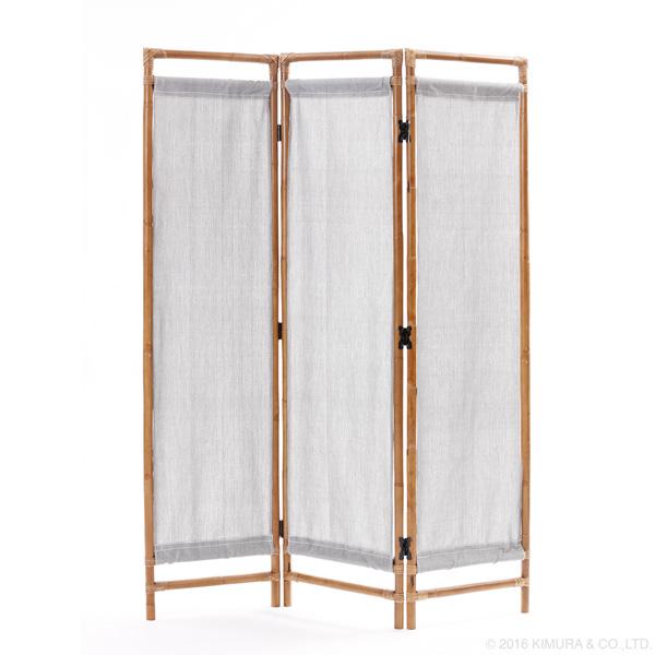 ラタン ナチュラル ファブリックスクリーン 3連 家具 インテリア パーテーション 間仕切り 目隠し 仕切り 衝立 ついたて 籐 和室 和風 さわやか系 たたみ 畳 シンプル アジアン エスニック アンティーク(代引不可)【送料無料】