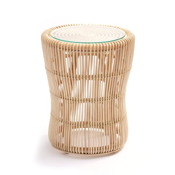 ラタン サイドテーブル ナイトテーブル ラウンドテーブル コーヒーテーブル ソファサイド ベッドサイド 籐 ガラス天板 丸型 ミニ(代引不可)【送料無料】