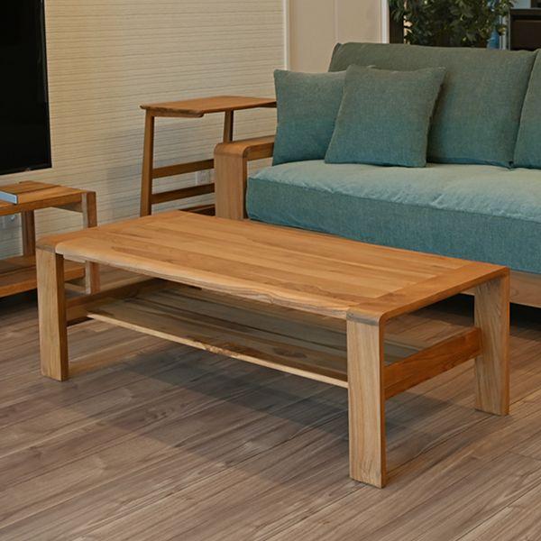 リビングテーブル 120cm幅 センターテーブル 木製 チーク 無垢材 北欧 ナチュラル INCONTRO(代引不可)【送料無料】