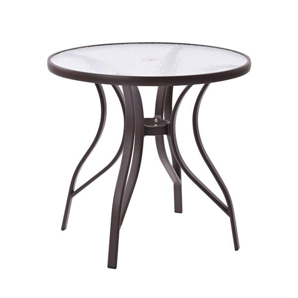ガーデンテーブル 屋外 ガラステーブル アウトドア バーベキュー キャンプ ガーデン 庭 テラス グレー 円卓 ラウンドテーブル(代引不可)【送料無料】