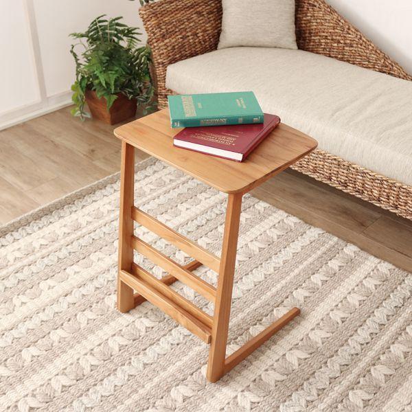 サイドテーブル ソファサイド ベッドサイド 木製 チーク 無垢材 北欧 ナチュラル ソファ ベッド(代引不可)【送料無料】