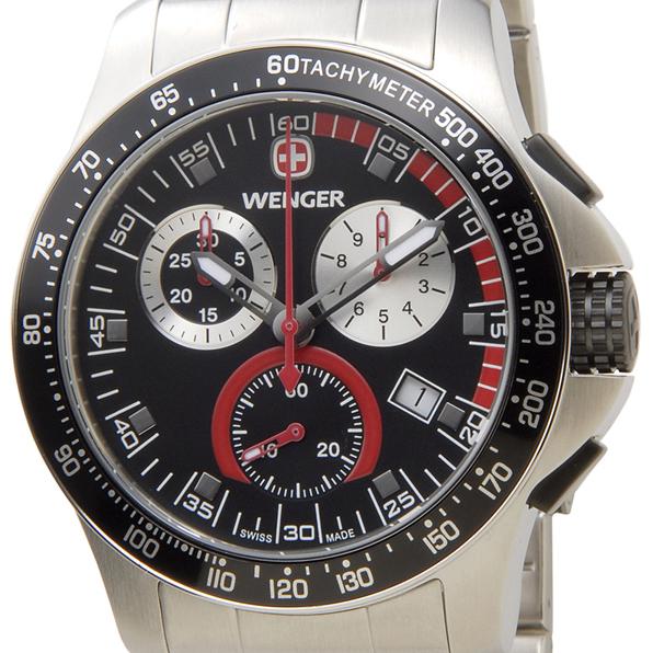 WENGER ウェンガー 腕時計 WEN70798 メンズ バタリオン クロノ ブラック/シルバー