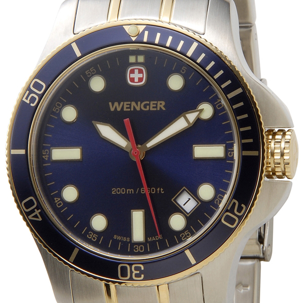 WENGER ウェンガー 腕時計 WEN72346 メンズ バタリオン ブルー/ゴールド/シルバー