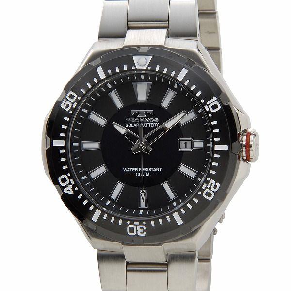 テクノス TECHNOS T2415SB ソーラーバッテリー デイト 10気圧防水 ブラック×シルバー メンズ 腕時計【送料無料】