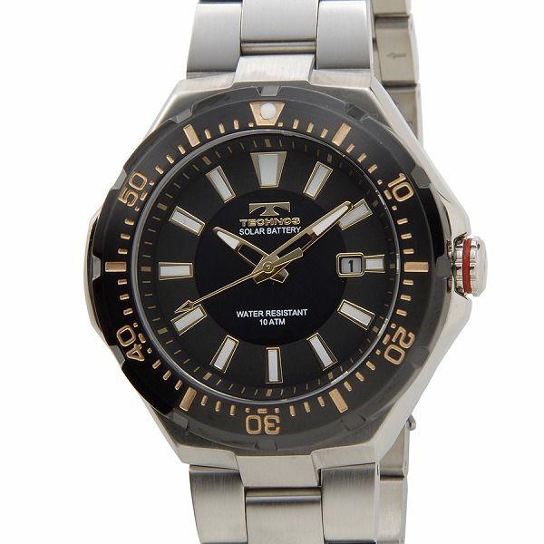 テクノス TECHNOS T2415SH ソーラーバッテリー デイト 10気圧防水 ブラック×シルバー メンズ 腕時計【送料無料】