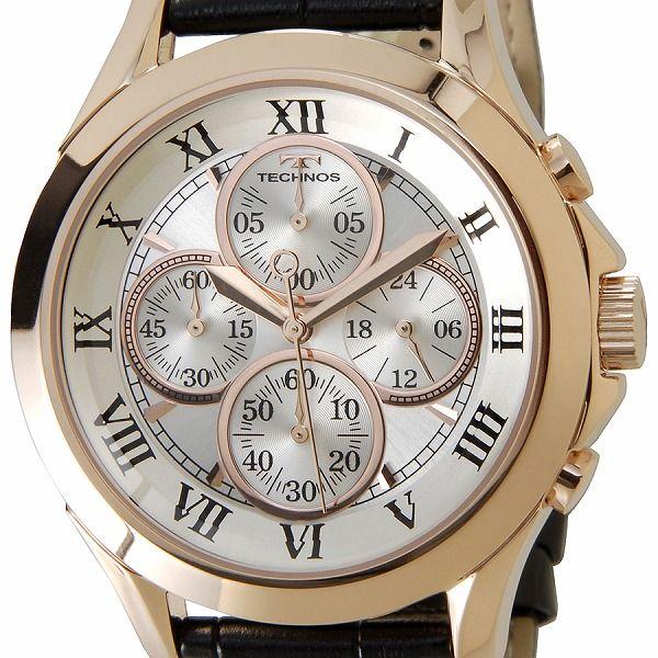 テクノス TECHNOS T4345PS クロノグラフ 24時間計 10気圧防水 ピンクゴールド メンズ 腕時計【送料無料】