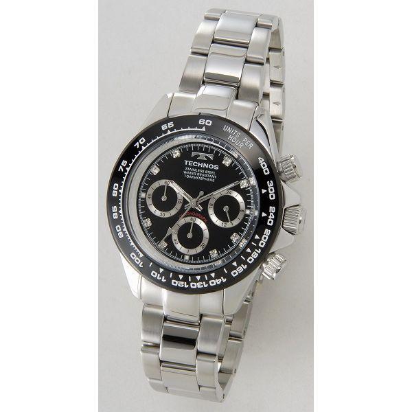 テクノス TECHNOS T4392TB クロノグラフ 24時間計 10気圧防水 ブラック×シルバー メンズ 腕時計【送料無料】