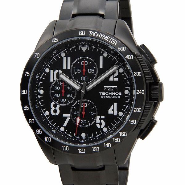 テクノス TECHNOS T4417BB 限定モデル プレミアム クロノグラフ 10気圧防水 替えベルト付き ブラック メンズ 腕時計【送料無料】