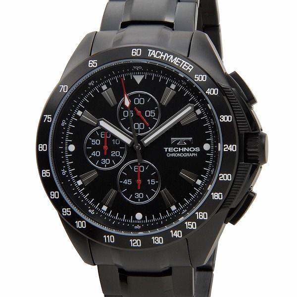 テクノス TECHNOS T4417BH 限定モデル プレミアム クロノグラフ 10気圧防水 替えベルト付き ブラック メンズ 腕時計【送料無料】