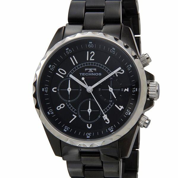 テクノス TECHNOS T9449BB クロノグラフ 24時間計 5気圧防水 ブラック×シルバー メンズ 腕時計【送料無料】