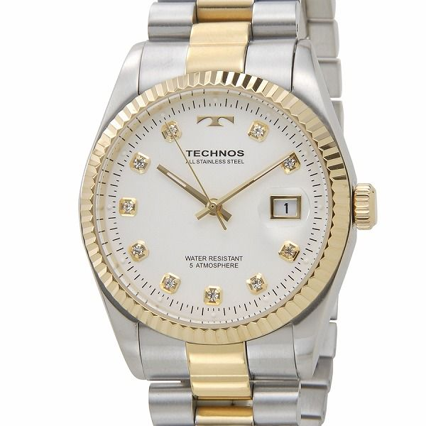 テクノス TECHNOS T9455TW デイト 5気圧防水 クリアストーン10P ホワイト×ゴールド メンズ 腕時計【送料無料】