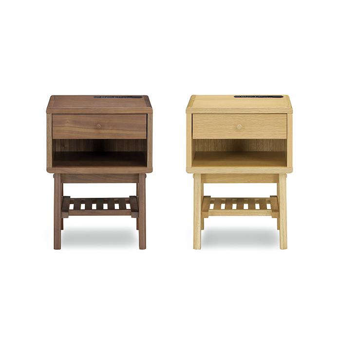 36ナイトテーブル エポール ウォールナット オーク 収納家具 寝室 おしゃれ 木製 引き出し付き ベッドサイドテーブル(代引不可)【送料無料】