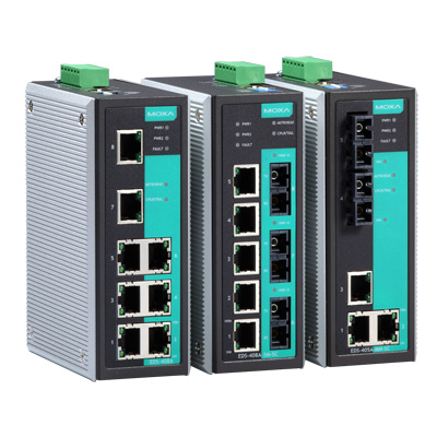 MOXA MOXA1 工業用マネージド・リダンダント・イーサネットスイッチ 6ポートRJ45/2ポートマルチモードファイバST 動作温度:-40から75℃ EDS-408A-MM-ST-T(代引き不可)