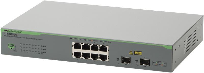 アライドテレシス AT-GS950/8-Z1 [10/100/1000BASE-Tx6、10/100/1000BASE-Tx2(コンボ)、SFP スロットx2(コンボ)] (1916RZ1)(代引不可)