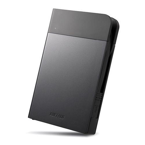 バッファロー ICカードロック解除 MILスペック耐衝撃ボディー防雨防塵ポータブルSSD 240GB ブラック(代引不可)