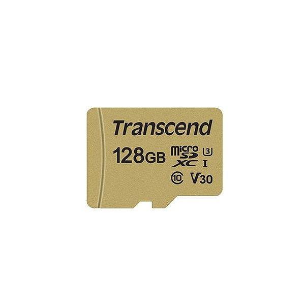 トランセンドジャパン 128GB UHS-I U3 microSD with Adapter (MLC) TS128GUSD500S(代引不可)
