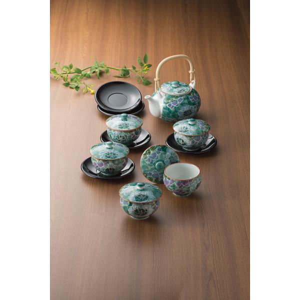 彩牡丹 茶托付番茶器揃 和陶器 和陶茶器 土瓶茶器 932994(代引不可)