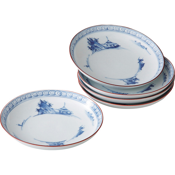 京山水絵 六寸皿5枚揃 和陶器 和陶皿 中皿セット(代引不可)【ポイント10倍】
