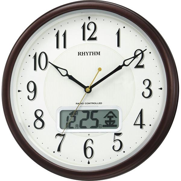 リズム 自動点灯ライト付電波掛時計 室内装飾品 掛け時計 振り子無し丸型時計 4FYA03SR06(代引不可)
