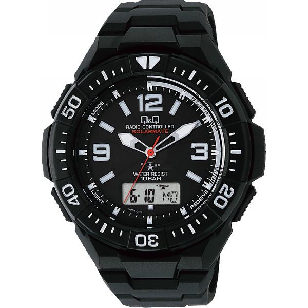 Q Q ソーラー電源機能付コンビネーション電波腕時計 装身具 紳士装身品 紳士腕時計 MD06-305(代引不可)【送料無料】