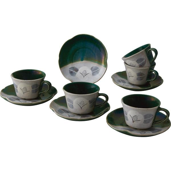 瀬戸焼 織部 鉢付コーヒー5客セット 和陶器 和陶コーヒー 5客コーヒー NOS‐010(代引不可)【送料無料】