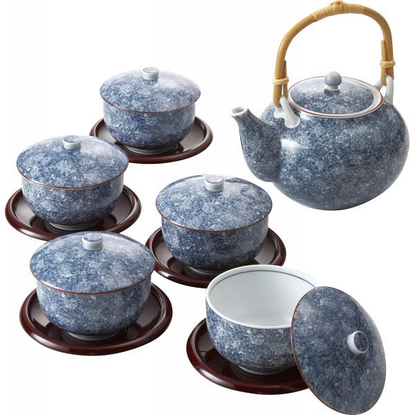 庫山窯 染吉野 茶托付蓋番茶器 和陶器 和陶茶器 蓋付土瓶茶器 27457(代引不可)【送料無料】