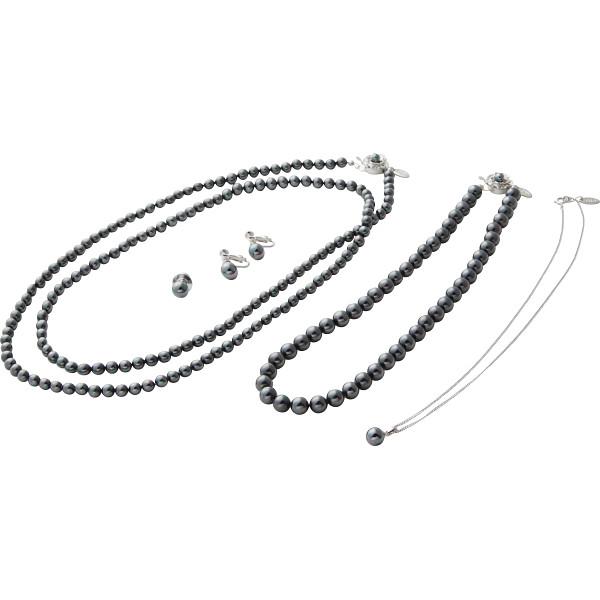 ユキコハナイ パール5点セット ブラック 装身具 貴金属組合せセット パールセット A‐YHHS14148BK(代引不可)【送料無料】