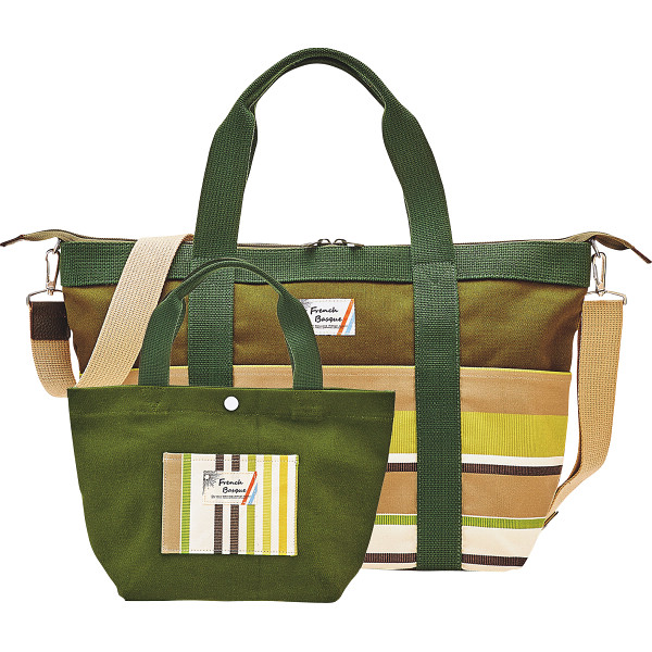 フレンチバスク トートバッグセット グリーン フレンチバスク カバン バッグカジュアル BSQ85200-G(代引不可)【送料無料】