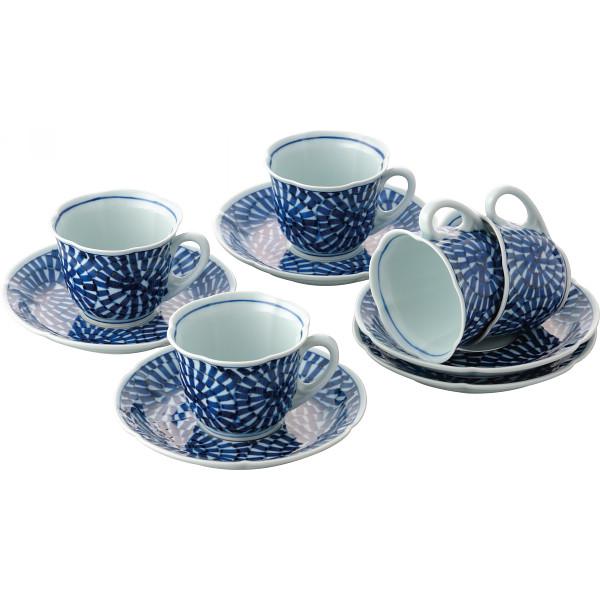蛸唐草絵 珈琲碗皿5客揃 和陶器 和陶コーヒー 5客コーヒー 007-242M(代引不可)【送料無料】