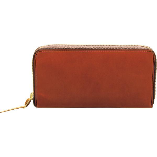 手塗りオイルレザー ラウンドファスナー長財布 ブラウン 装身具 財布 札束入れ TA45-06(代引不可)【送料無料】