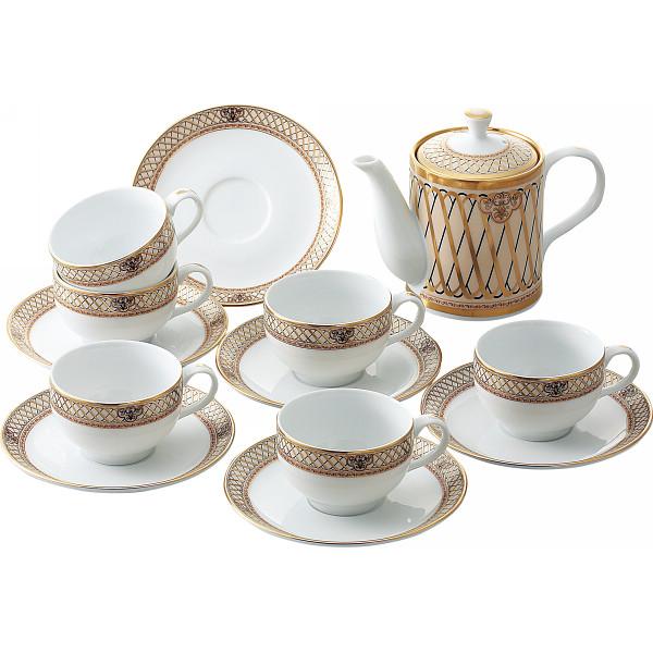 MR.BOSS ドンチーベージュ ポット付コーヒー碗皿6客セット 洋陶器 洋陶コーヒー ティーセット SYA‐045(代引不可)【送料無料】