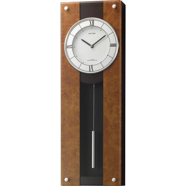リズム 電波振子掛時計 室内装飾品 掛け時計 振り子無し丸型時計 4MXA01RH06(代引不可)【送料無料】