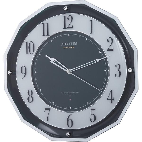 リズム 高感度電波掛時計 グリーン 室内装飾品 掛け時計 振り子無し丸型時計 4MY846SR05(代引不可)【送料無料】