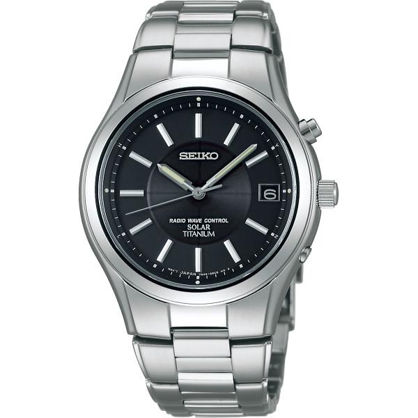 セイコー チタンソーラー電波 メンズ腕時計 ブラック セイコー 装身具 紳士装身品 紳士腕時計 SBTM193(代引不可)【送料無料】