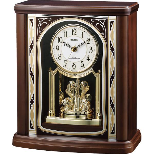 リズム 木枠電波置時計 室内装飾品 置き時計 回転振り子付時計 4RY698SR06(代引不可)【送料無料】