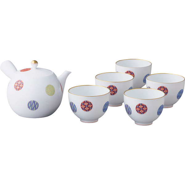 香蘭社 色絵丸紋 茶器揃 1028-AMN(代引不可)