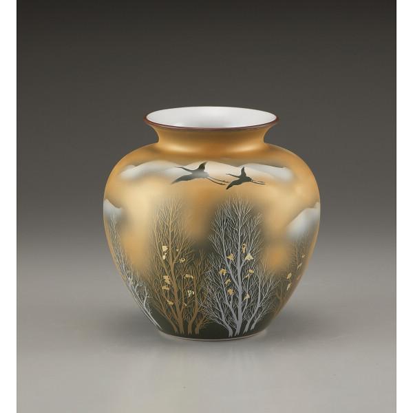 九谷焼 金箔木立に双鶴 6号花瓶 130541(代引不可)【int_d11】