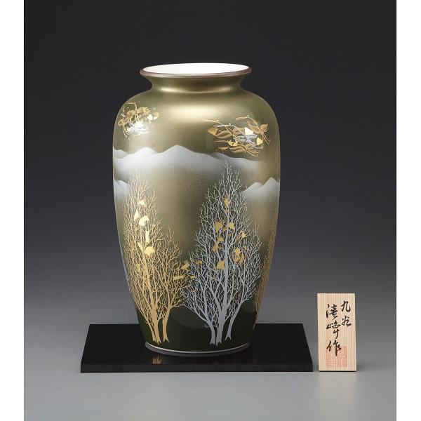九谷焼 金箔彩木立鶴連山 10号花瓶 130544(代引不可)【int_d11】
