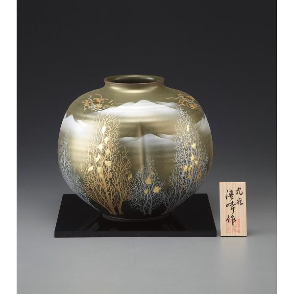 九谷焼 金箔彩木立鶴連山 8号花瓶 130545(代引不可)【int_d11】