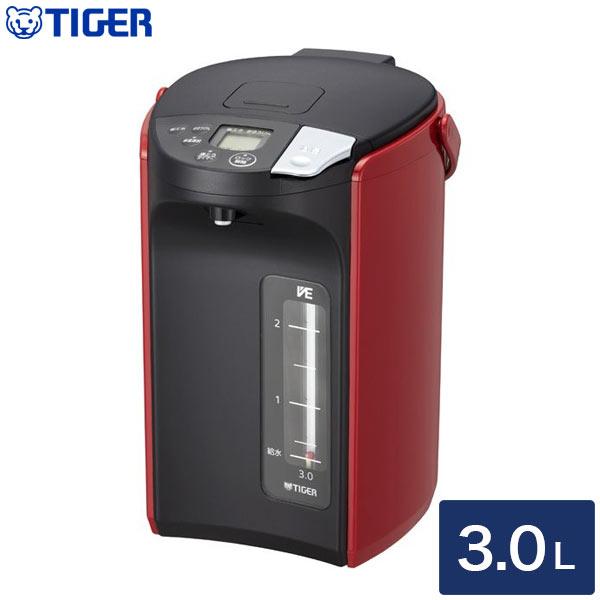 送料無料 タイガー魔法瓶 蒸気レスVE電気まほうびん とく子さん 3.0L ポット レッド 割引も実施中 流行のアイテム ケトル PIP-A300 R