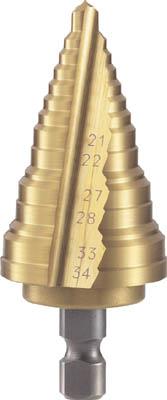 TRUSCO 電気設備用ステップドリル 2枚刃チタンコーティング 21~34mm【NMS-34EG】(穴あけ工具・ステップドリル)