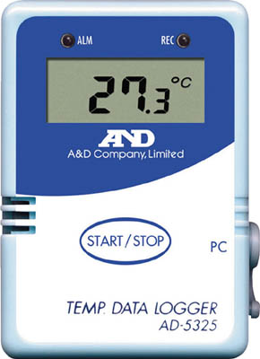 A&D 温度データーロガー 8000メモリー【AD5325】(計測機器・温度計・湿度計)