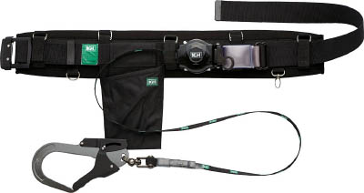 KH 補助帯付 アリールロック式 タフアルミ 自在環 安全帯 黒 HJA01K