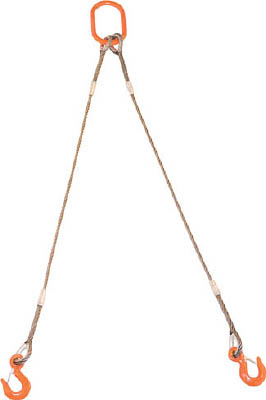 TRUSCO 2本吊りWスリング フック付き 6mmX1.5m GRE2P6S1.5