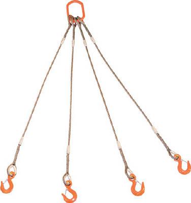 TRUSCO 4本吊りWスリング フック付き 6mmX1.5m GRE4P6S1.5