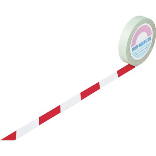 緑十字 ガードテープ(ラインテープ) 白/赤(トラ柄) 25mm幅×100m【送料無料】