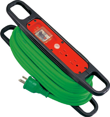 日動 ハンドリール 100V 3芯×10m 緑 アース過負荷漏電しゃ断器付【HR-EK102-G】(コードリール・延長コード・延長コード)