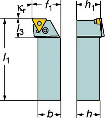 サンドビック T-Max P ネガチップ用シャンクバイト【PTFNL 2525M 22】(旋削・フライス加工工具・ホルダー)【S1】