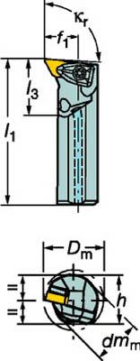 サンドビック コロターンRC ネガチップ用ボーリングバイト【A32T-DDUNL 11】(旋削・フライス加工工具・ホルダー)